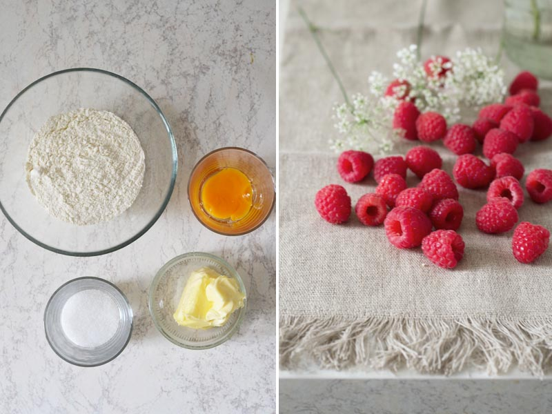 ingredients for raspberry tarte
