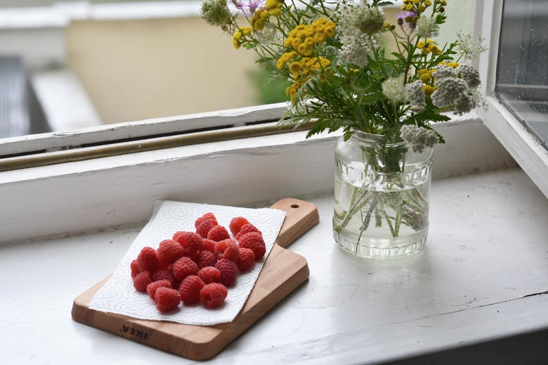 raspberries on the windowsill