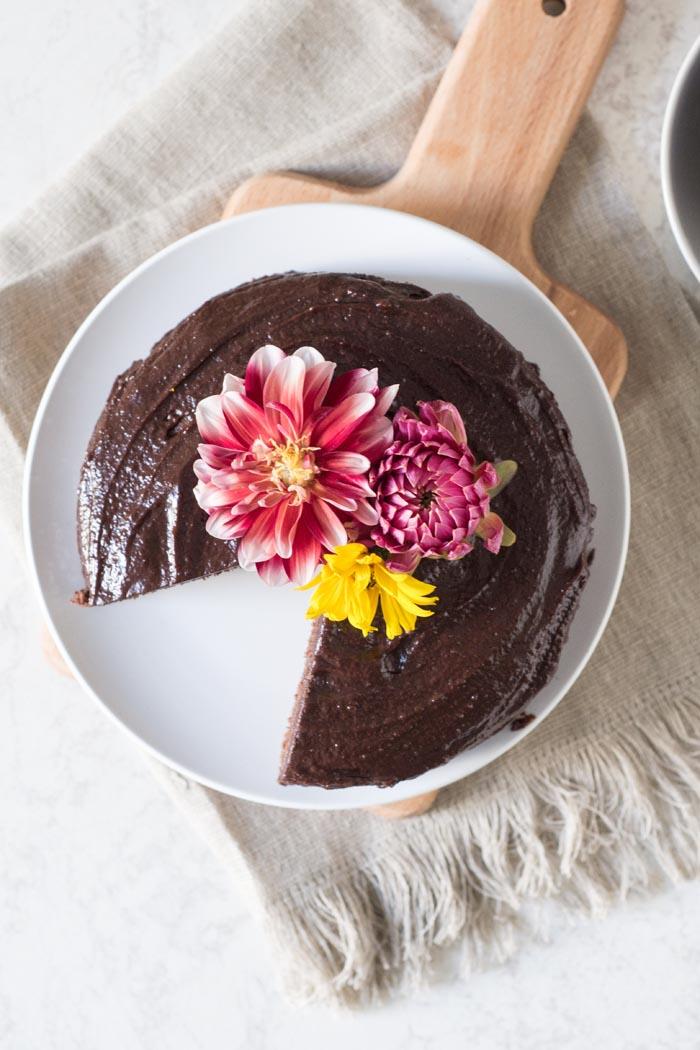 chocolate chocolate chocolate cake flowers